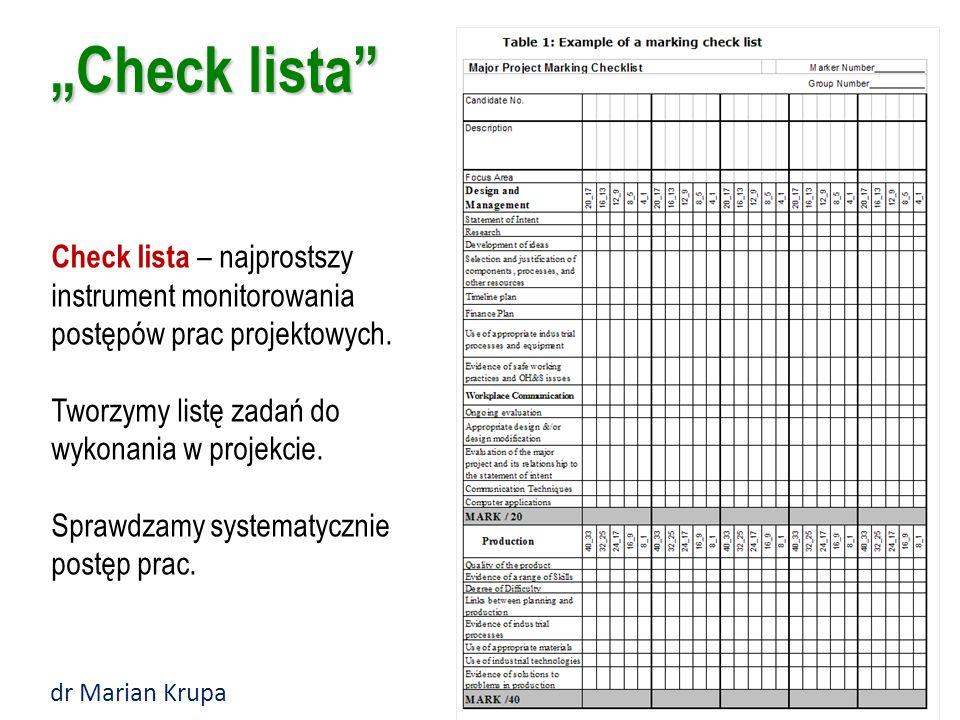 """""""Check lista Check lista – najprostszy instrument monitorowania postępów prac projektowych. Tworzymy listę zadań do wykonania w projekcie."""