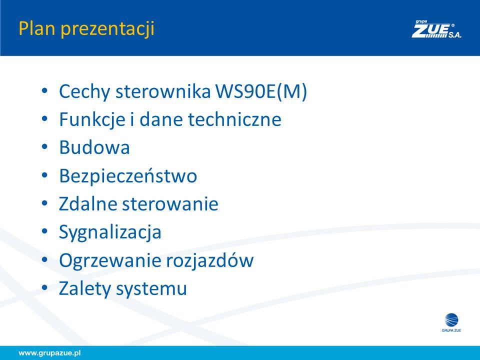 Plan prezentacji Cechy sterownika WS90E(M) Funkcje i dane techniczne. Budowa. Bezpieczeństwo. Zdalne sterowanie.