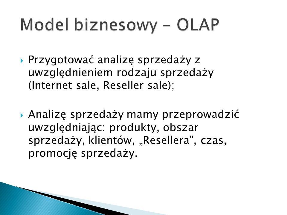 Model biznesowy - OLAP Przygotować analizę sprzedaży z uwzględnieniem rodzaju sprzedaży (Internet sale, Reseller sale);