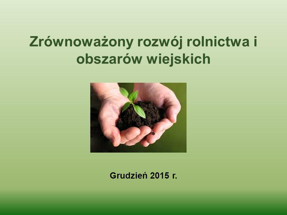 Zrównoważony rozwój rolnictwa i obszarów wiejskich Grudzień 2015 r.
