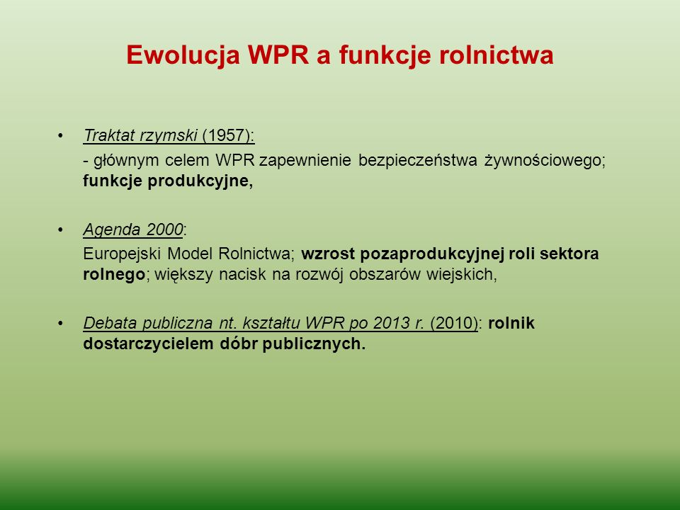 Ewolucja WPR a funkcje rolnictwa