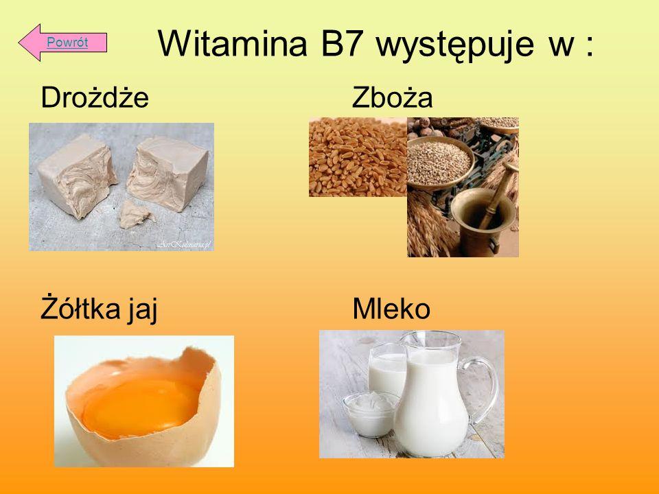 Witamina B7 występuje w :