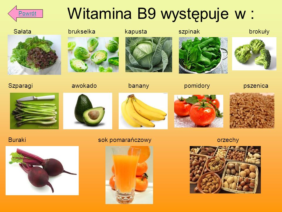 Witamina B9 występuje w :