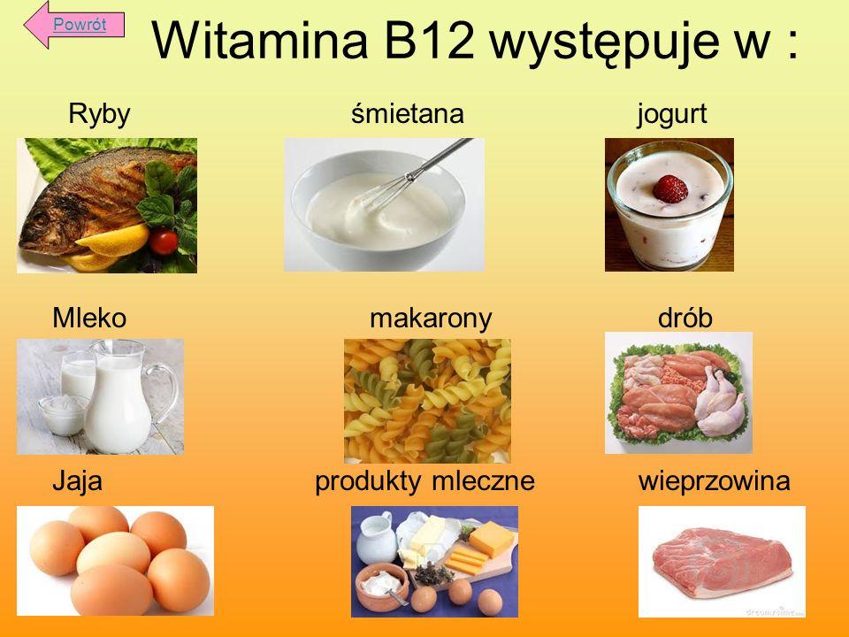 Witamina B12 występuje w :