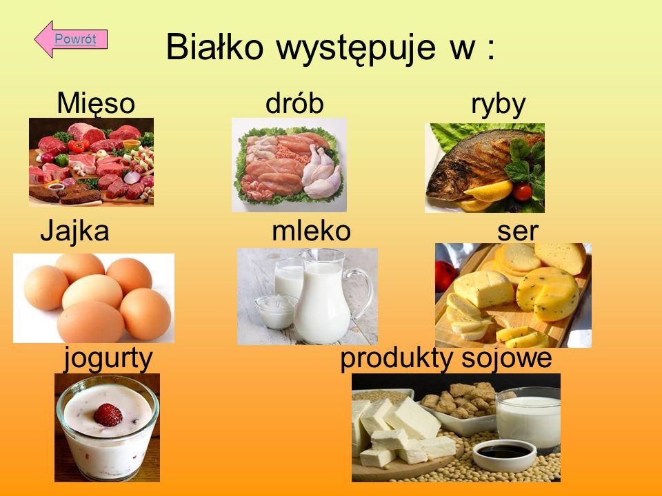 Białko występuje w : Mięso drób ryby Jajka mleko ser