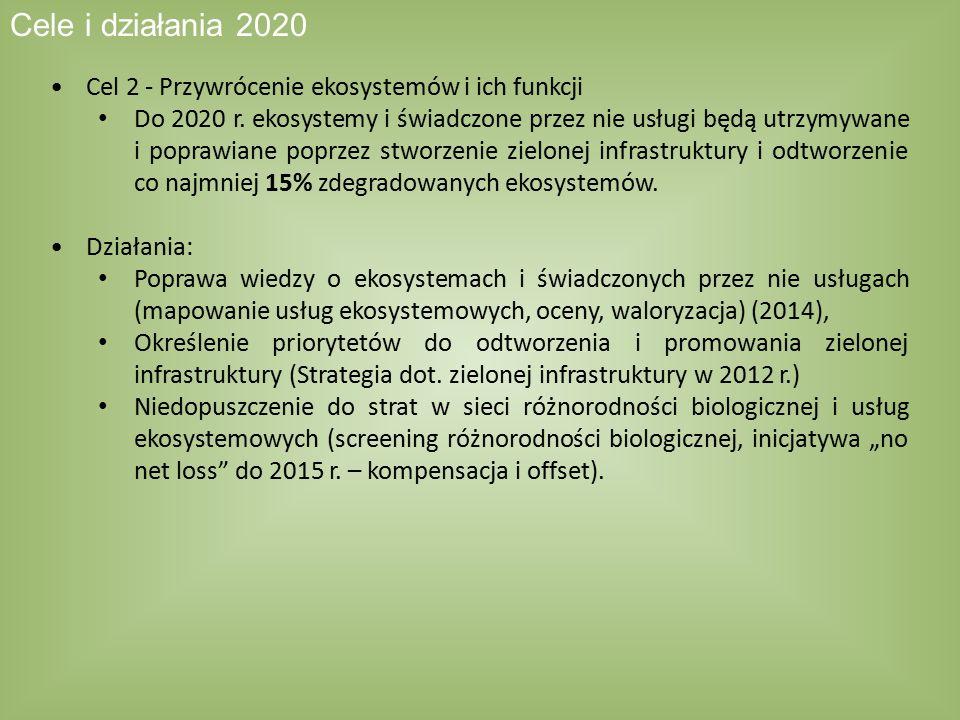 Cele i działania 2020 Cel 2 - Przywrócenie ekosystemów i ich funkcji