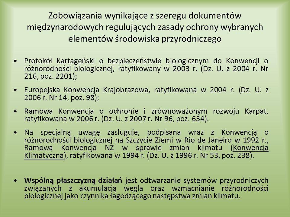 Zobowiązania wynikające z szeregu dokumentów międzynarodowych regulujących zasady ochrony wybranych elementów środowiska przyrodniczego
