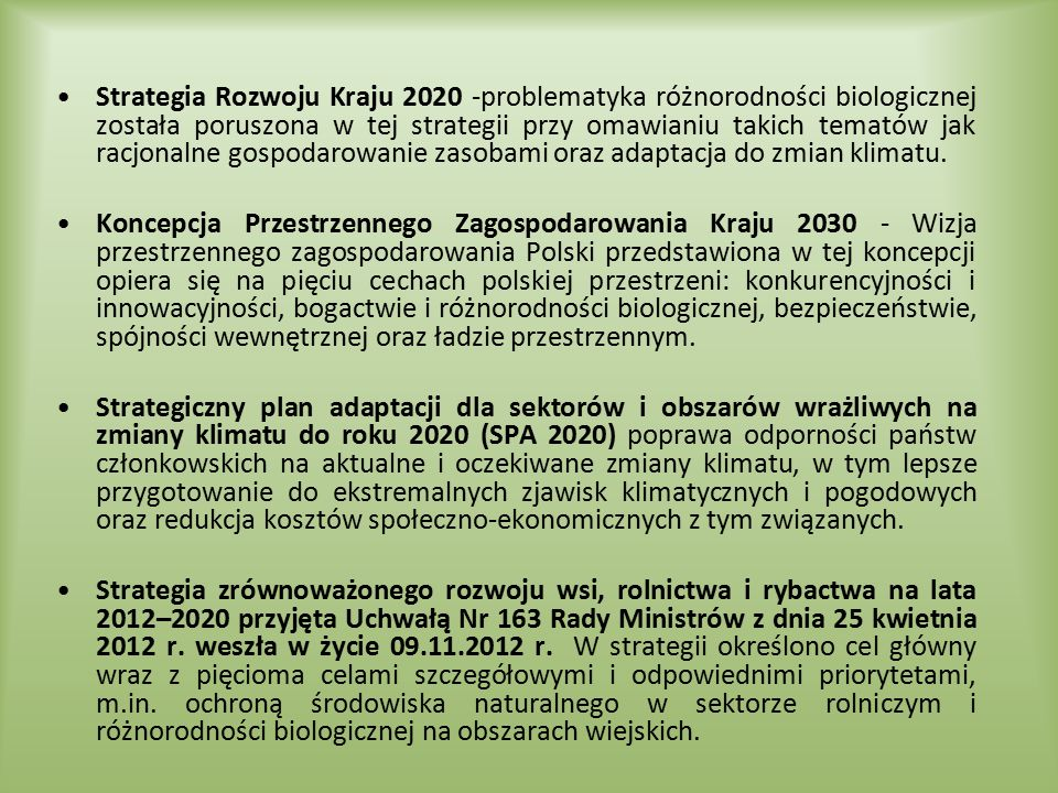 Strategia Rozwoju Kraju 2020 -problematyka różnorodności biologicznej została poruszona w tej strategii przy omawianiu takich tematów jak racjonalne gospodarowanie zasobami oraz adaptacja do zmian klimatu.