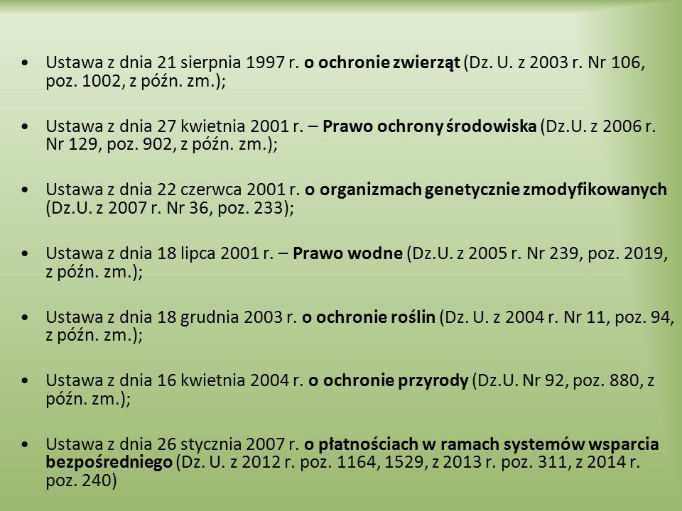Ustawa z dnia 21 sierpnia 1997 r. o ochronie zwierząt (Dz. U. z 2003 r
