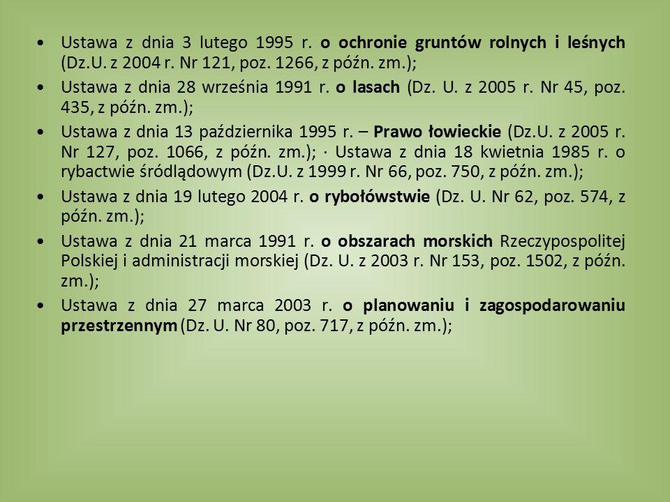 Ustawa z dnia 3 lutego 1995 r. o ochronie gruntów rolnych i leśnych (Dz.U. z 2004 r. Nr 121, poz. 1266, z późn. zm.);