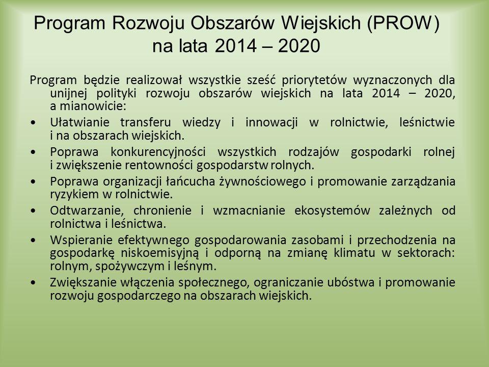 Program Rozwoju Obszarów Wiejskich (PROW) na lata 2014 – 2020