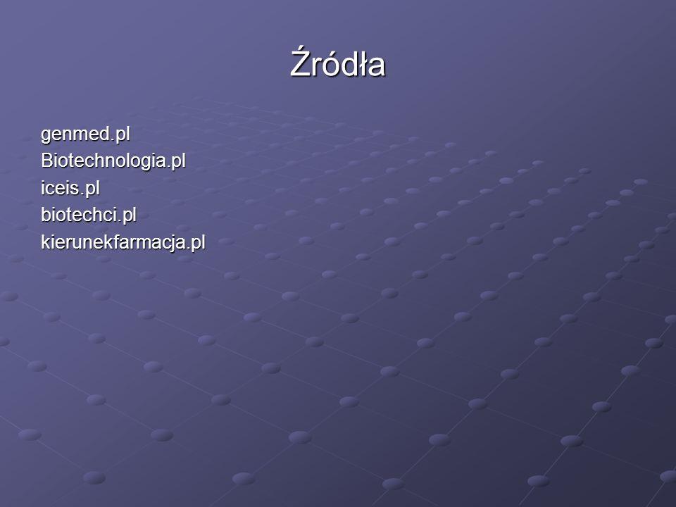 Źródła genmed.pl Biotechnologia.pl iceis.pl biotechci.pl