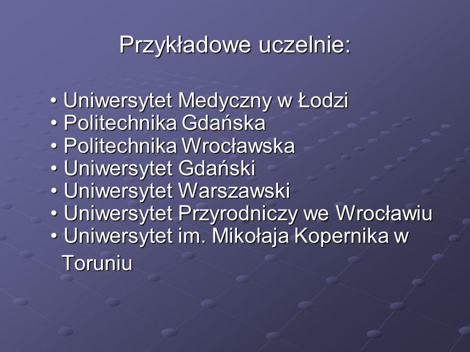 Przykładowe uczelnie:
