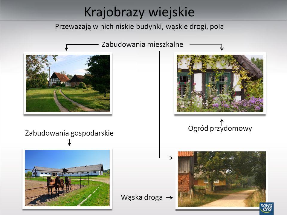 Krajobrazy wiejskie Przeważają w nich niskie budynki, wąskie drogi, pola. Zabudowania mieszkalne. Ogród przydomowy.