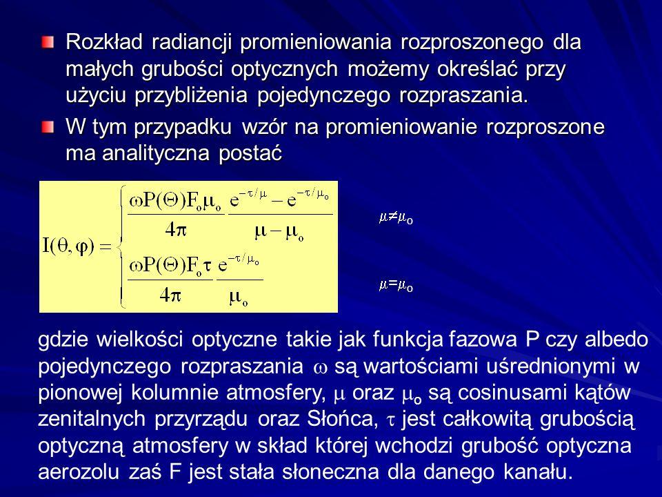 Rozkład radiancji promieniowania rozproszonego dla małych grubości optycznych możemy określać przy użyciu przybliżenia pojedynczego rozpraszania.