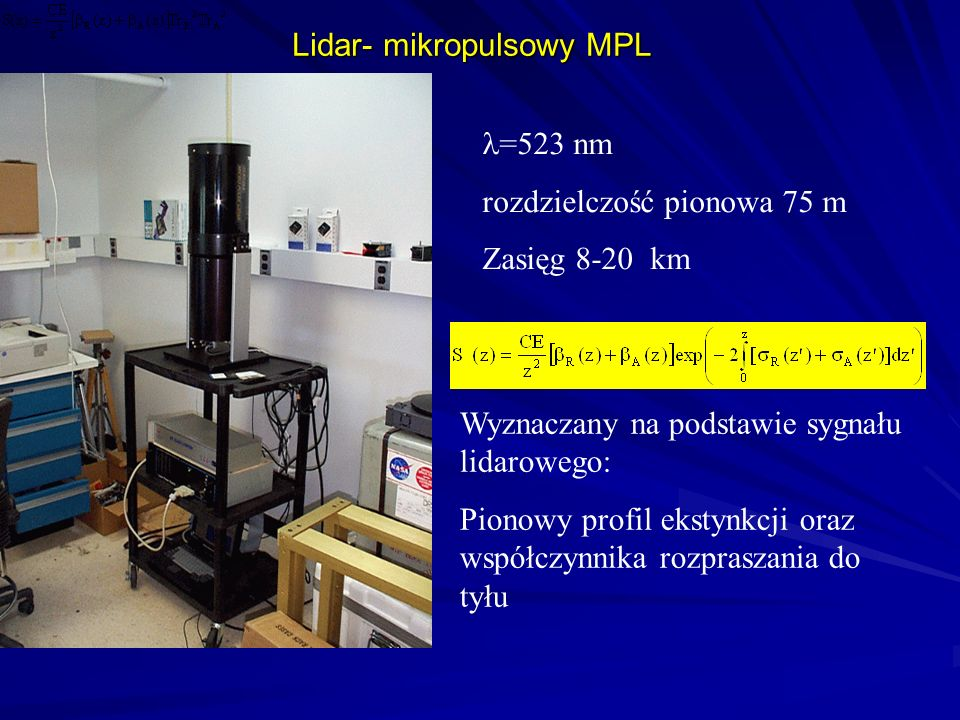 Lidar- mikropulsowy MPL