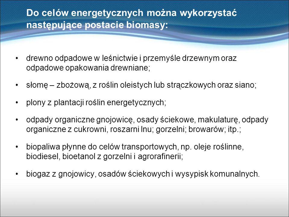 Do celów energetycznych można wykorzystać następujące postacie biomasy: