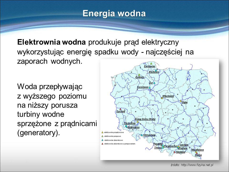 Energia wodna Elektrownia wodna produkuje prąd elektryczny wykorzystując energię spadku wody - najczęściej na zaporach wodnych.