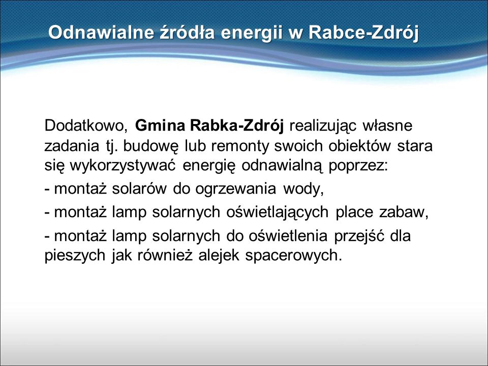 Odnawialne źródła energii w Rabce-Zdrój