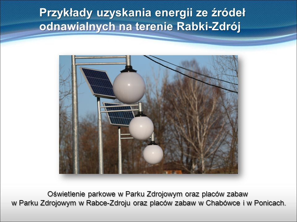 Przykłady uzyskania energii ze źródeł odnawialnych na terenie Rabki-Zdrój