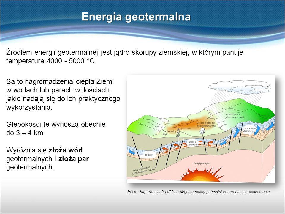 Energia geotermalna Źródłem energii geotermalnej jest jądro skorupy ziemskiej, w którym panuje temperatura 4000 - 5000 °C.