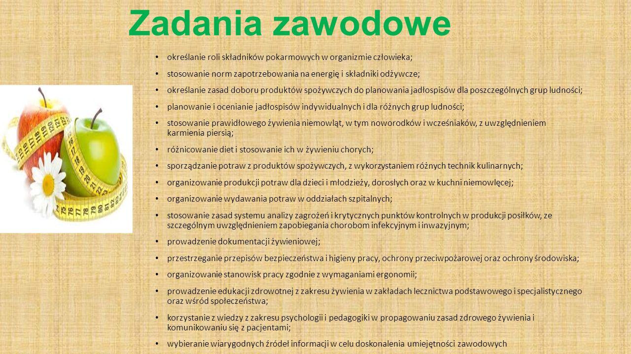 Zadania zawodowe określanie roli składników pokarmowych w organizmie człowieka; stosowanie norm zapotrzebowania na energię i składniki odżywcze;