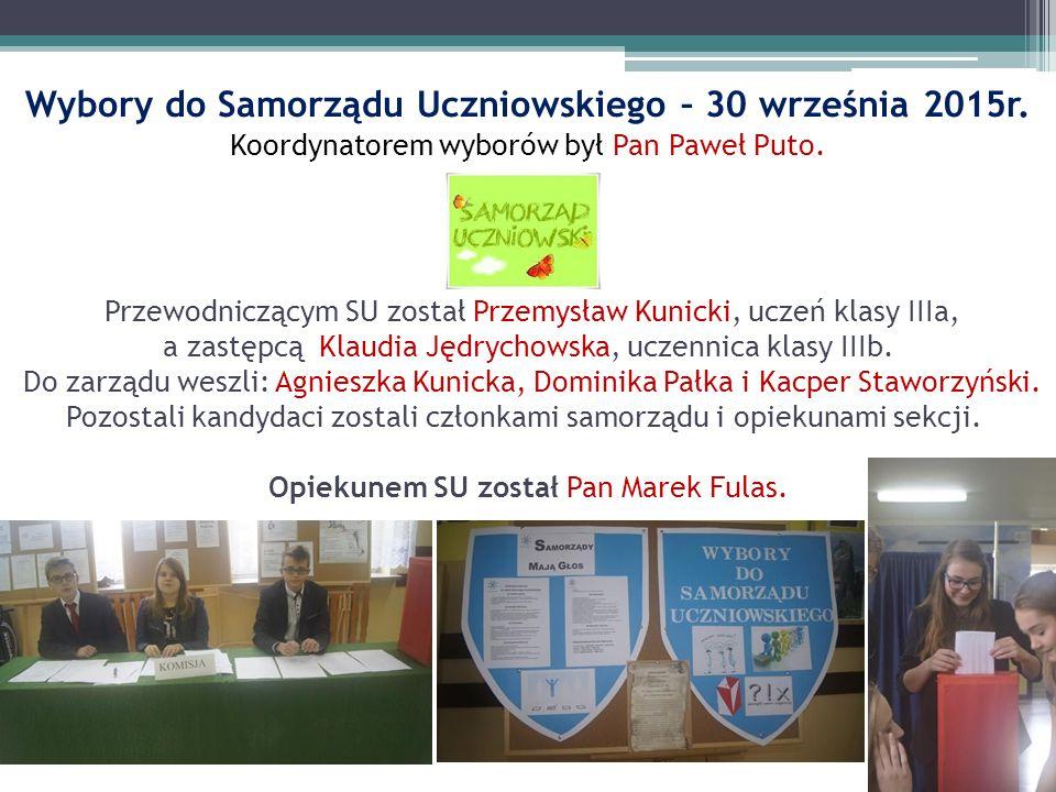 Wybory do Samorządu Uczniowskiego – 30 września 2015r