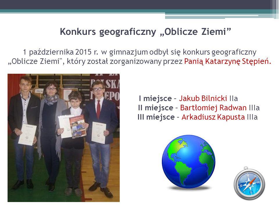 """Konkurs geograficzny """"Oblicze Ziemi 1 października 2015 r"""