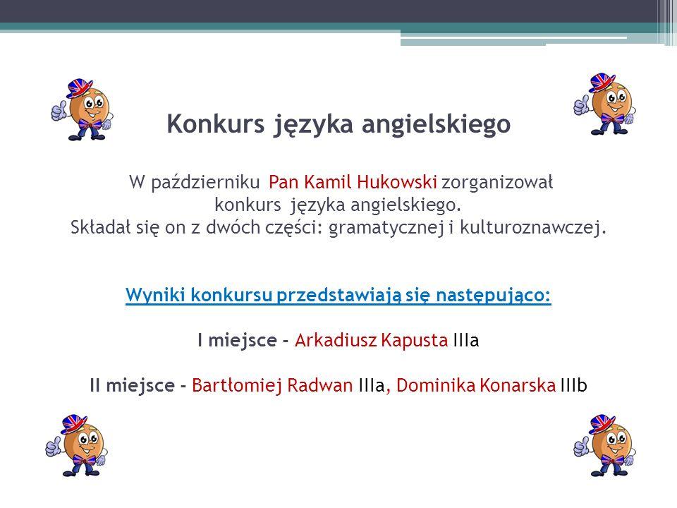 Konkurs języka angielskiego W październiku Pan Kamil Hukowski zorganizował konkurs języka angielskiego.