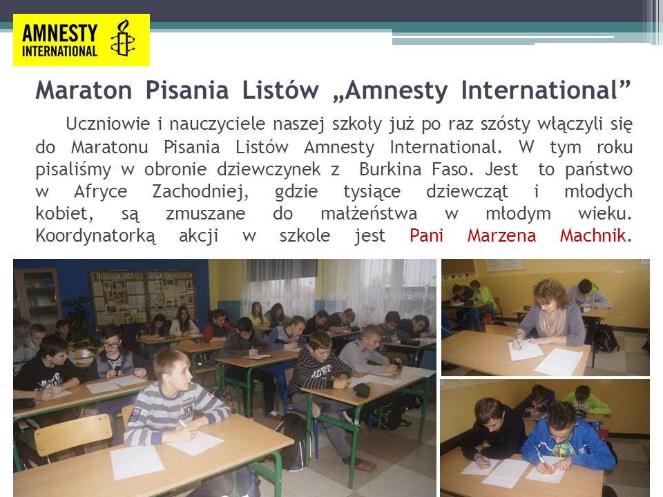 """Maraton Pisania Listów """"Amnesty International Uczniowie i nauczyciele naszej szkoły już po raz szósty włączyli się do Maratonu Pisania Listów Amnesty International."""