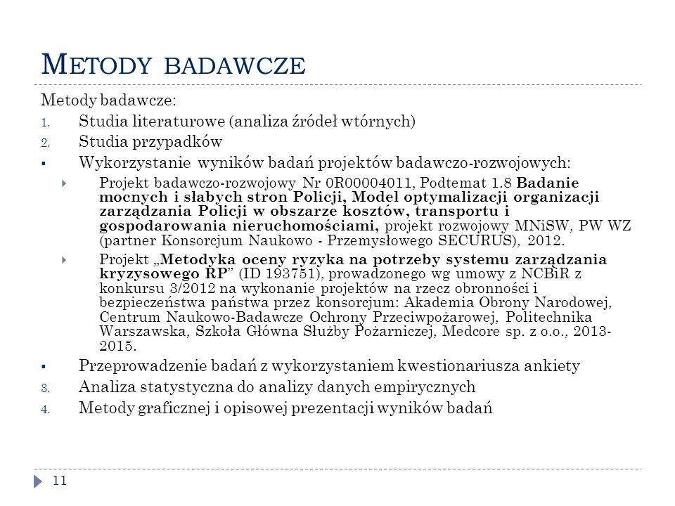 Metody badawcze Metody badawcze: