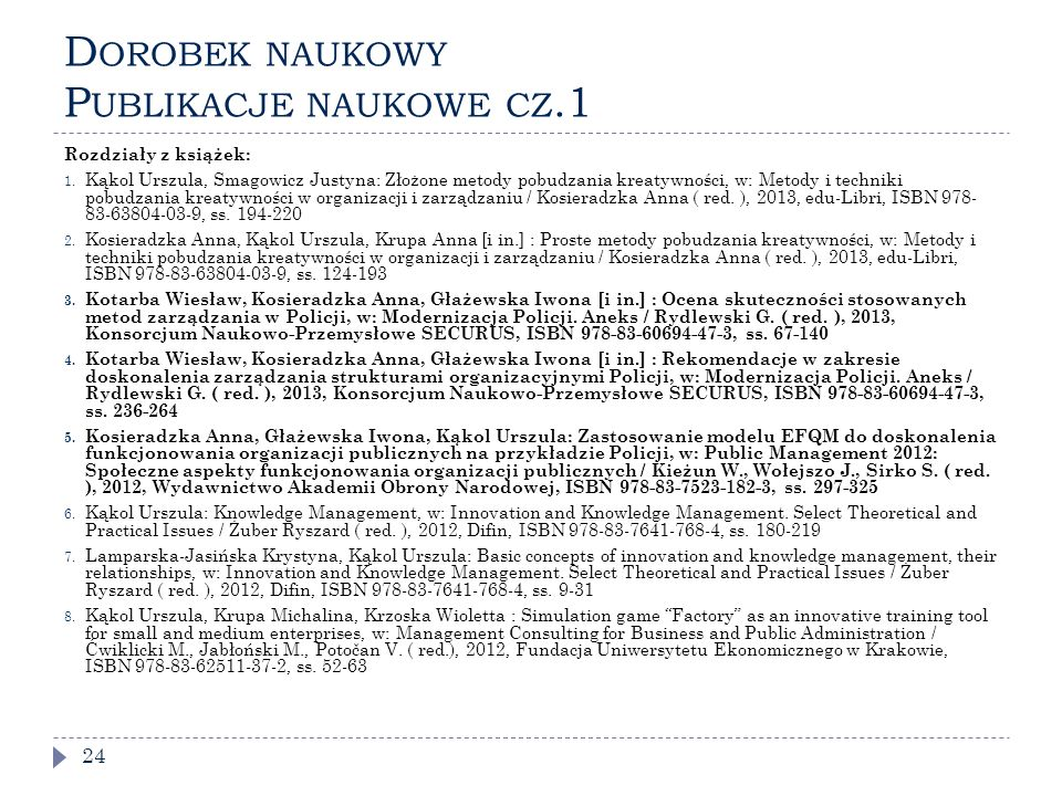Dorobek naukowy Publikacje naukowe cz.1