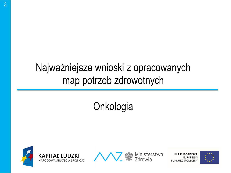 Najważniejsze wnioski z opracowanych map potrzeb zdrowotnych Onkologia