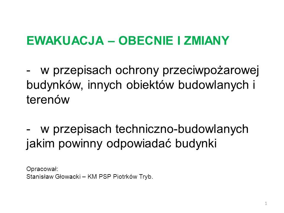 EWAKUACJA – OBECNIE I ZMIANY - w przepisach ochrony przeciwpożarowej budynków, innych obiektów budowlanych i terenów - w przepisach techniczno-budowlanych jakim powinny odpowiadać budynki Opracował: Stanisław Głowacki – KM PSP Piotrków Tryb.