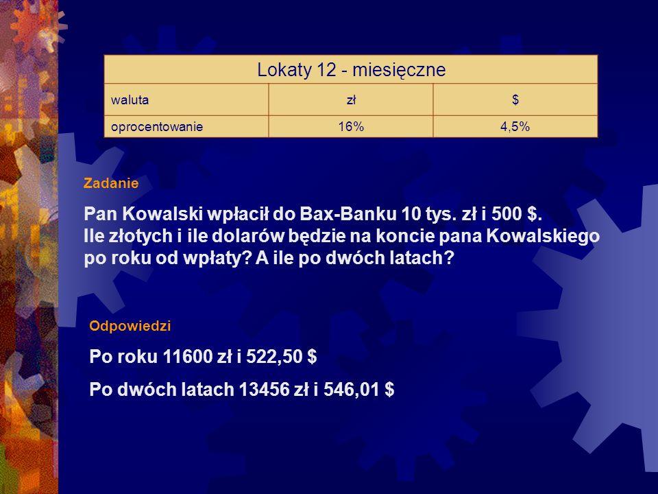 Lokaty 12 - miesięczne waluta. zł. $ oprocentowanie. 16% 4,5% Zadanie.