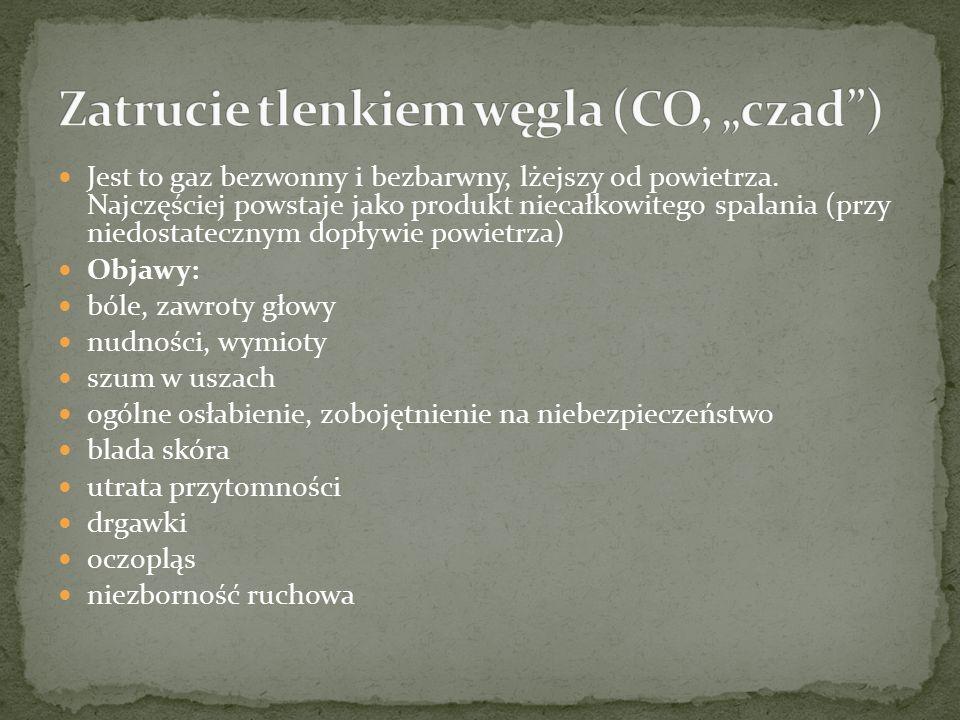 """Zatrucie tlenkiem węgla (CO, """"czad )"""