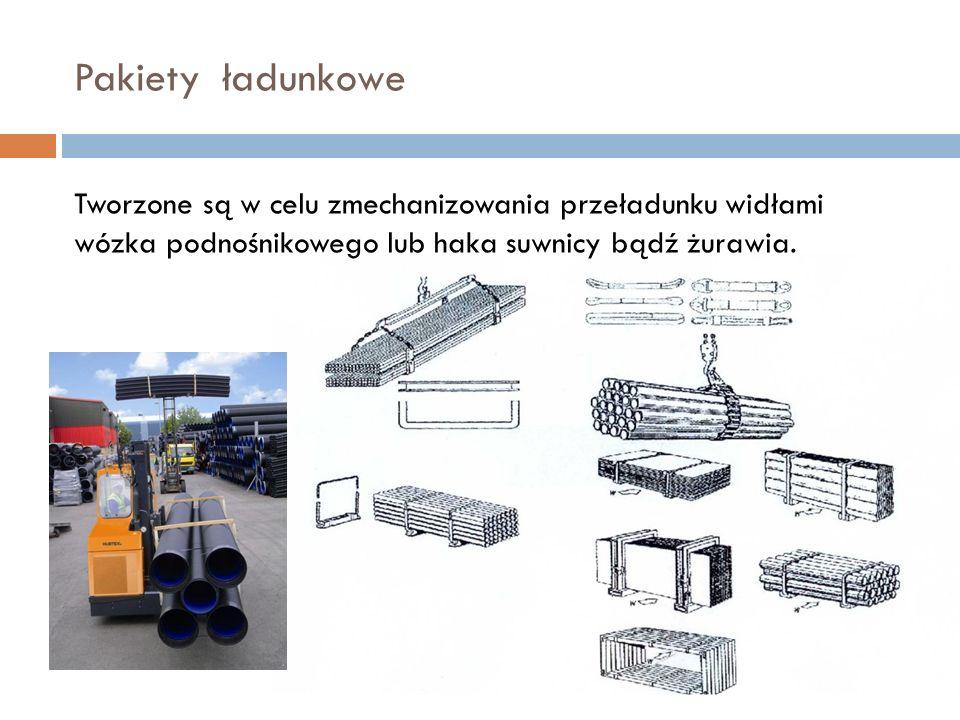 Pakiety ładunkowe Tworzone są w celu zmechanizowania przeładunku widłami wózka podnośnikowego lub haka suwnicy bądź żurawia.