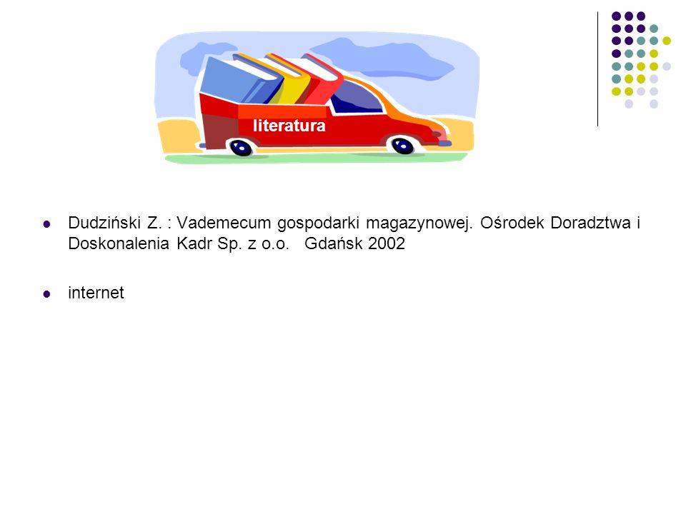 literatura Dudziński Z. : Vademecum gospodarki magazynowej. Ośrodek Doradztwa i Doskonalenia Kadr Sp. z o.o. Gdańsk 2002.
