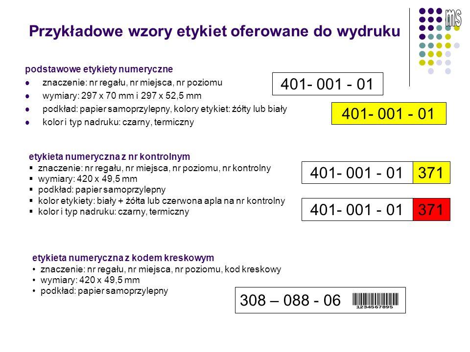 Przykładowe wzory etykiet oferowane do wydruku