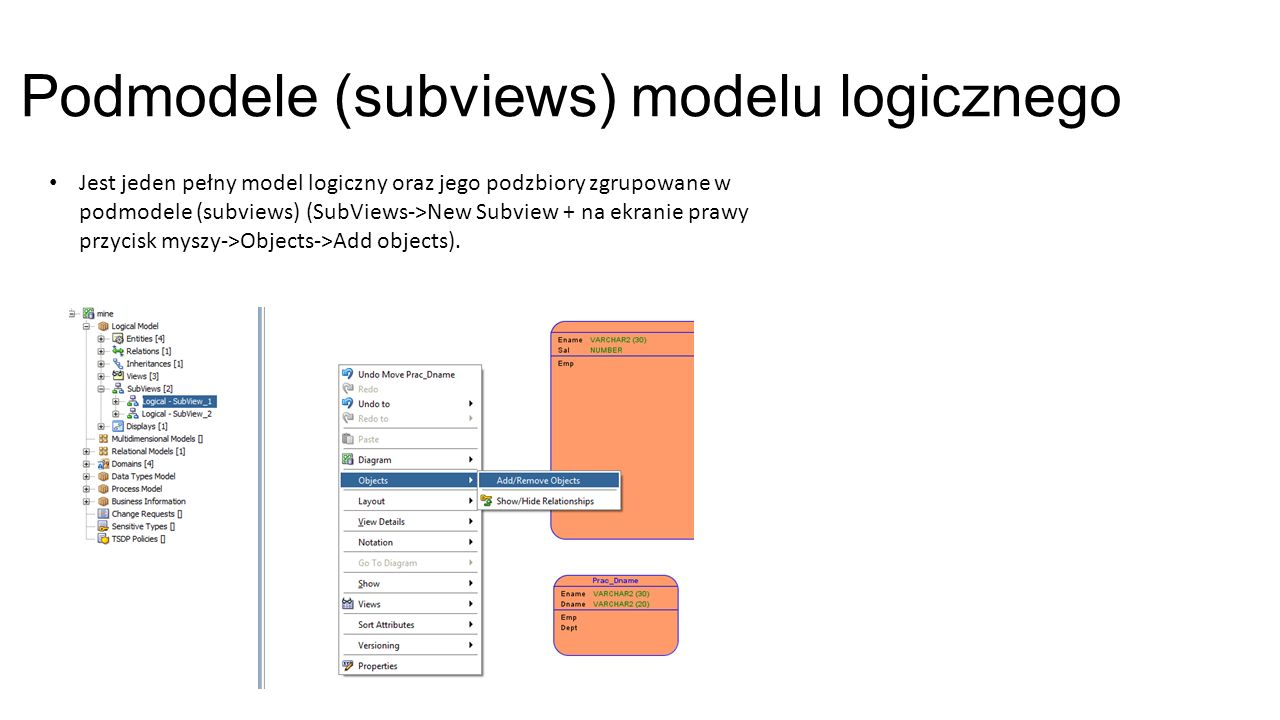 Podmodele (subviews) modelu logicznego