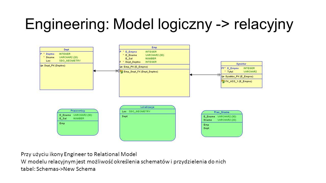 Engineering: Model logiczny -> relacyjny