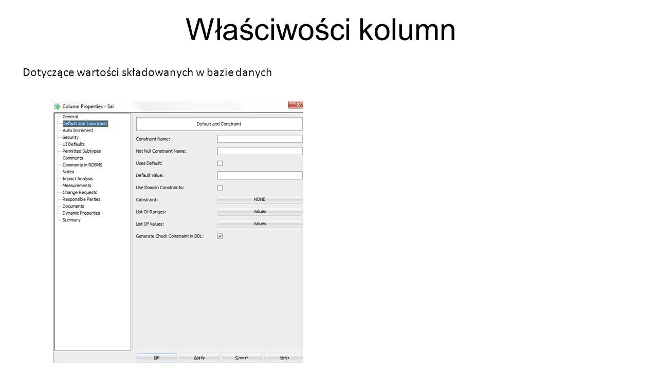 Właściwości kolumn Dotyczące wartości składowanych w bazie danych