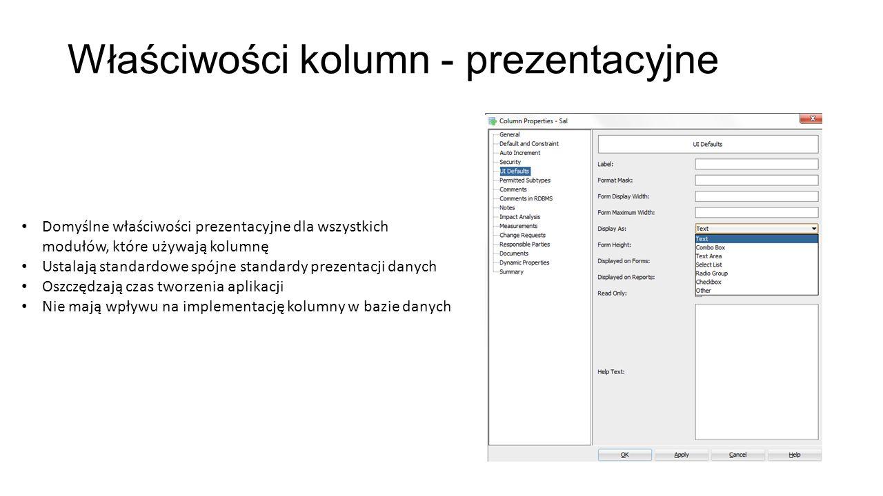 Właściwości kolumn - prezentacyjne