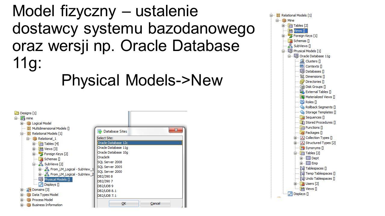 Model fizyczny – ustalenie dostawcy systemu bazodanowego oraz wersji np.