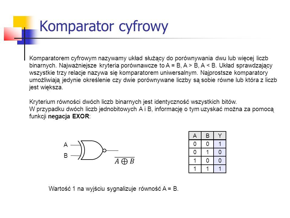 Komparator cyfrowy Komparatorem cyfrowym nazywamy układ służący do porównywania dwu lub więcej liczb.