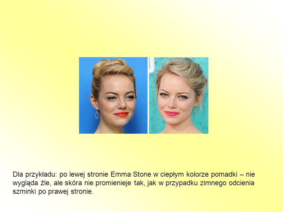 Dla przykładu: po lewej stronie Emma Stone w ciepłym kolorze pomadki – nie wygląda źle, ale skóra nie promienieje tak, jak w przypadku zimnego odcienia szminki po prawej stronie.