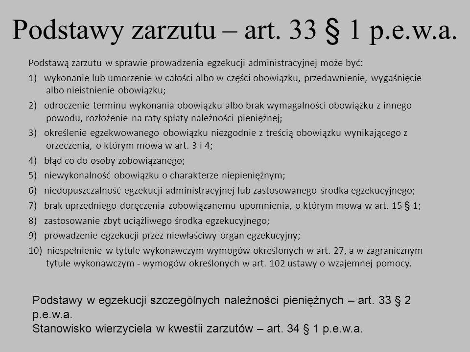 Podstawy zarzutu – art. 33 § 1 p.e.w.a.