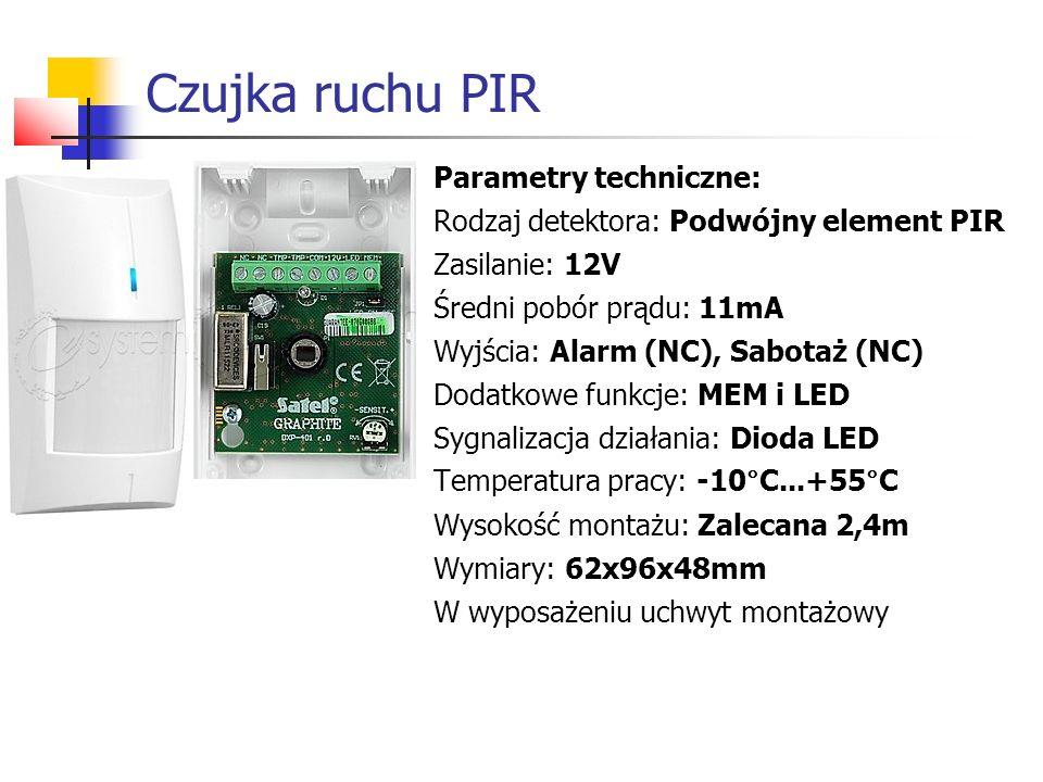 Czujka ruchu PIR Parametry techniczne: