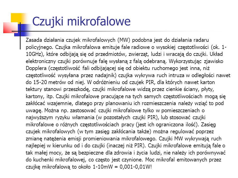 Czujki mikrofalowe Zasada działania czujek mikrofalowych (MW) podobna jest do działania radaru.