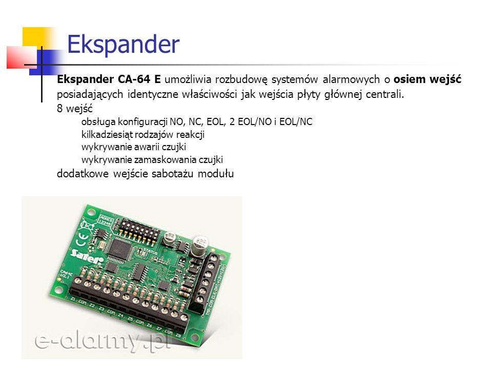 Ekspander Ekspander CA-64 E umożliwia rozbudowę systemów alarmowych o osiem wejść.